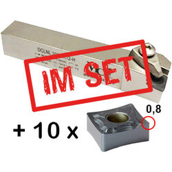 ISO Drehhalter Set, DCLNL 2020 K12-H inkl. 10x CNMG 120408 X-725M