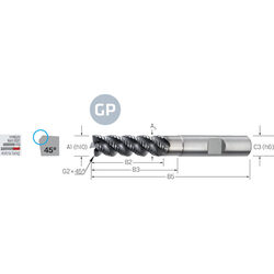 Schruppfräser VHM PRECITOOL-GP, extra lang, Typ HR, mit Fase, ALCRONA