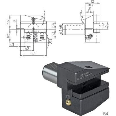 Werkzeughalter VDI //DIN 69880 Form C1 mit Vierkant-Längsaufnahme Überkopf rechts